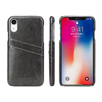 Grey Deluxe Leather For iPhone XR Case