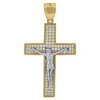 10kゴールドツートーンCZメンズクロス十字架高さ43.4ミリメートルX幅23.6mm宗教的なチャームペンダントネックレスのジュエリーのためのギフト