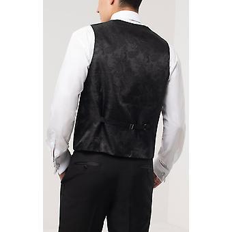 Dobell Mens Black Tuxedo Waistcoat Slim Fit Double Breasted