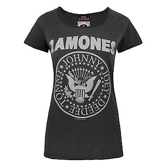 Amplified Ramones Seal Logo Charcoal Women's T-Shirt