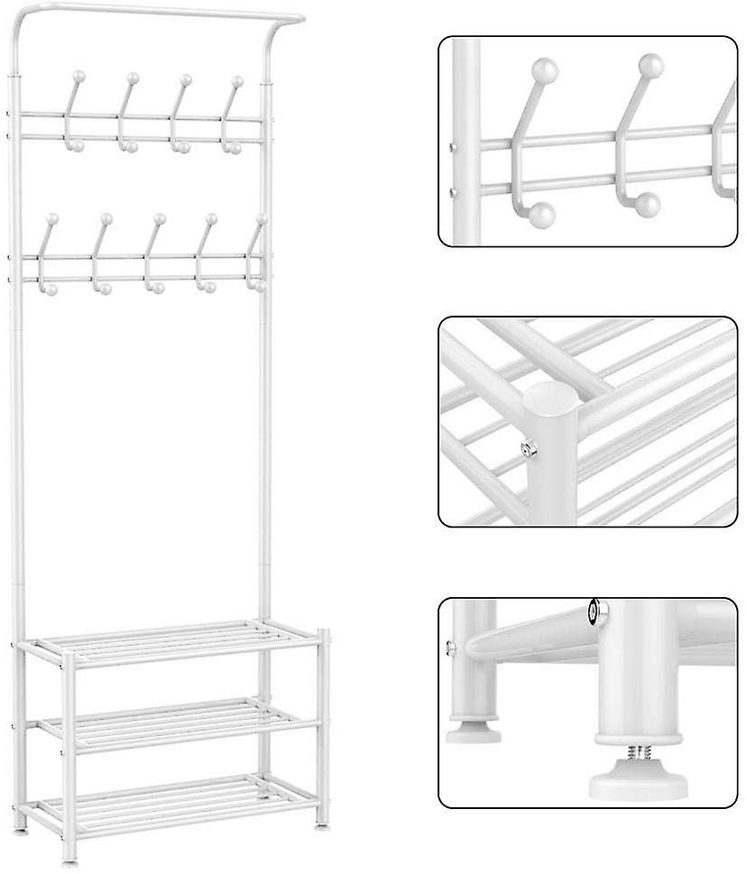 18 Hooks Metal Clothes/Hat Hanger Tree Hall Stand Coats Rack/Stand with Shoes Storage Shelves White