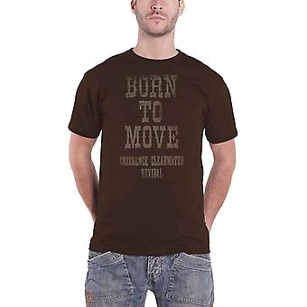 Creedence Clearwater Revival T Shirt Born To Move Logo new Official Mens Brown