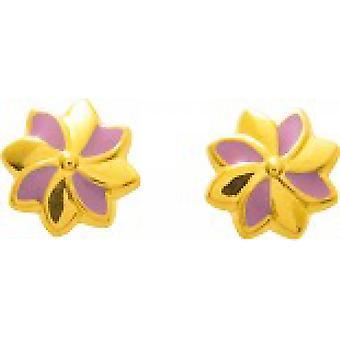 Ohrringe Blumen laquis gold 750/1000 gelb Kinderwagen Schraube (18K)