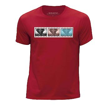STUFF4 Chłopca rundy szyi koszulka/Film Strip / zwierzę / słoń/czerwony