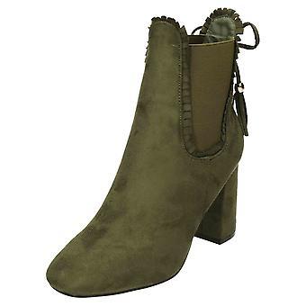 Koi Footwear High Heel Chelsea Ankle Boots Green Suede Tassels