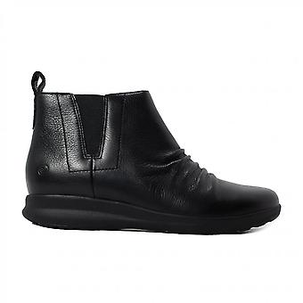 Clarks Un Sieren Mid Black Leather Womens Zip Up Chelsea Boots