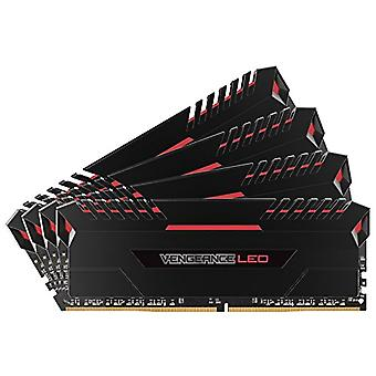 Corsair Vengeance LED Memory Kit Illuminated LED Enthusiastic 64 GB (4x16 GB), DDR4 3200 MHz, C16 XMP 2.0, Black with Red LED Lighting