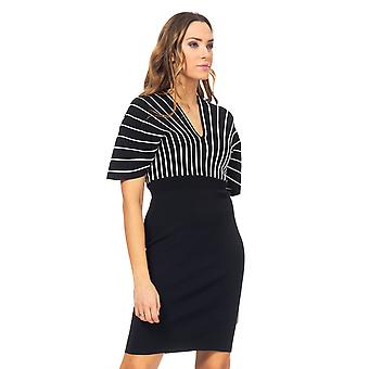 Knitted dress with V-neck and lurex details