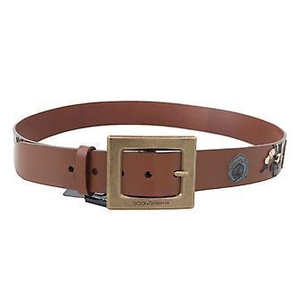 Brown leather sicilian western wide belt