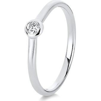 Bague Diamond - 14K 585/- Or blanc - 0,1 ct. - 1C515W450 - Largeur de l'anneau: 50