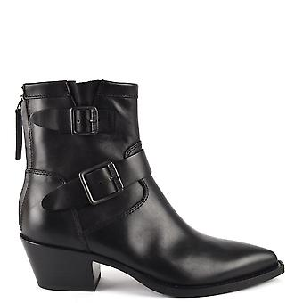 Ash DOORS Buckle Boots Black Leather