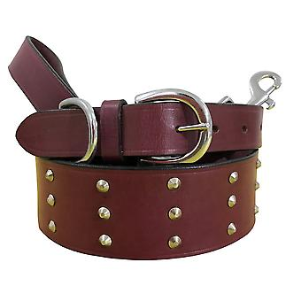 Bradley crompton genuine leather matching pair dog collar and lead set bcdc21pink
