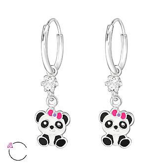 Hanging Panda - 925 Sterling Silver Hoops - W32904x