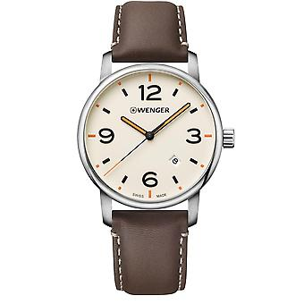 Wenger Urban Metropolitan Quartz Cream Dial Brown Leather Strap Men's Watch 01.1741.133 RRP £129