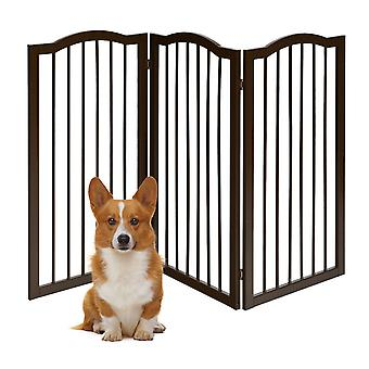 3 Panels Folding Pet Dog Gate Fence Child Safety Barrier Freestanding Pine Wood