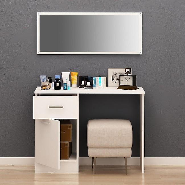 Coiffeuse Nayeli Colore Bianco, Cromo in Truciolare Melaminico, Tavolo L100xP40xA75 cm, Specchio L100xA40 cm