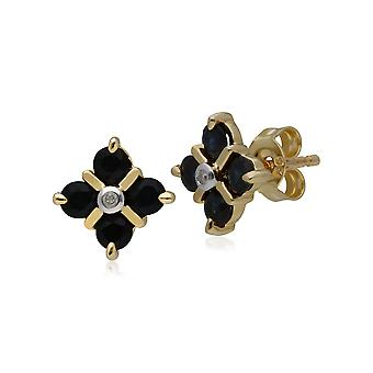 Classic Sapphire & Diamond Kiss Stud Earrings in 9ct Yellow Gold 135E1463019