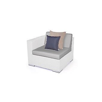 Polyrattan Cube afstudeerbank 90 cm - wit satijn