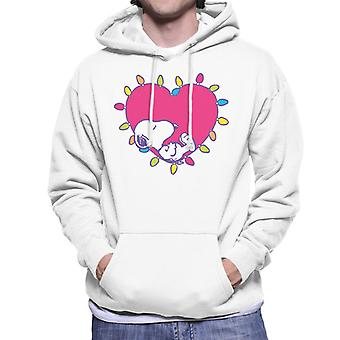 Peanuts Snoopy Sleeping In A Lit Up Pink Heart Men's Hooded Sweatshirt