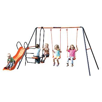 Hedstrom Europa - Double Swing, Glider and Slide Set Blue/Orange Ages 3-10 Years