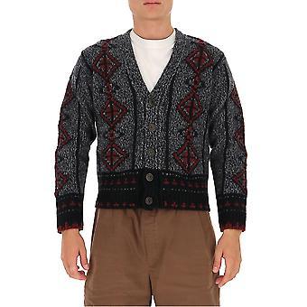 Etro 1m92697380003 Männer's graue Wolle Strickjacke