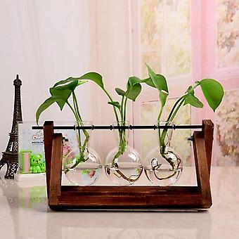 Creative Hydroponic Plant Transparent Terrarium Wooden Frame Vase Decorations -