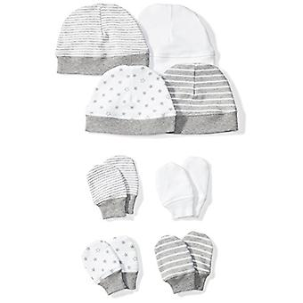 Moon and Back Baby Set of 4 Organic Cap and Mitten Sets, Grey Heather, 0-6 Mo...