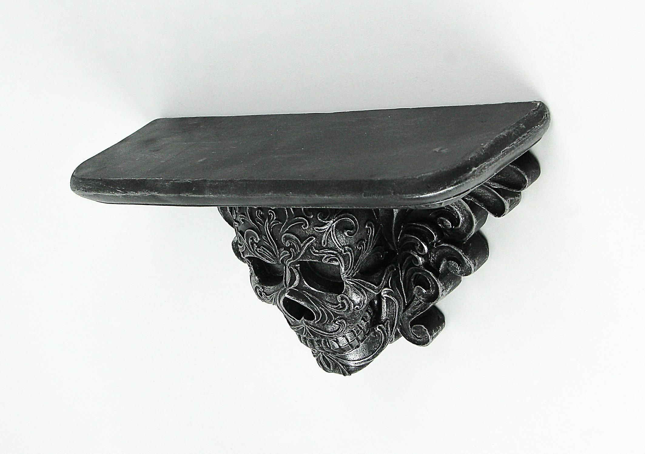 Graven Mantel Gothic Skull Design Decorative Wall Mounted Shelf 13 Inches Long