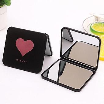 1pc Mini Square Makeup Mirror-Portable Dobbeltsidet Forfængelighed, foldbar lomme