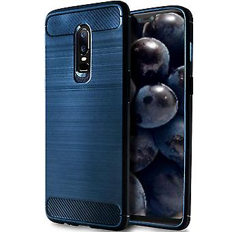 Shell per OnePlus 6 Blue Carbon Fiber Armor Case Protection