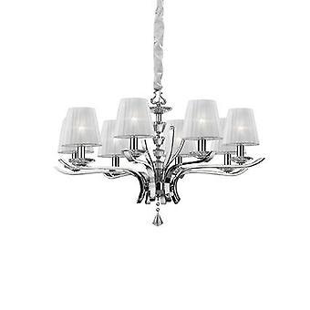 Idealny Lux Pegaso - 8 Light Crystal Multi Arm Żyrandol Chrom, Białe wykończenie, E14