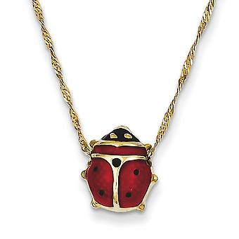 14k Yellow Gold Polished Closed back Enameled Ladybug Necklace Spring Ring Jewelry Gifts for Women