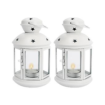 Nicola Spring Candle Lanterns Tealight Holders Metal Hanging Indoor Outdoor - 20cm - White - Set 2