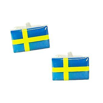 Krawatten Planet Schweden Flagge Manschettenknöpfe