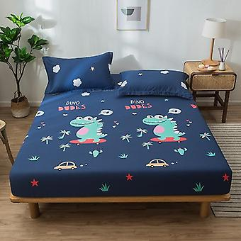 Bed Sheet Geometric Printed Fitted  With Elastic Band Linen Cotton Queen Size Mattress Cover
