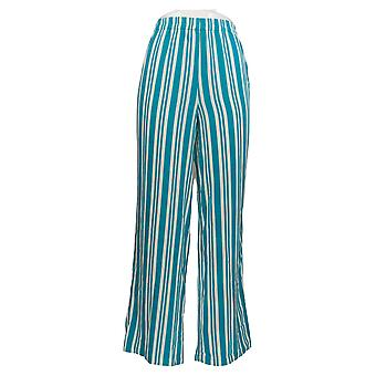 Bob Mackie Woven Striped Pull-On Pants Elastic Waist Striped Green A352888