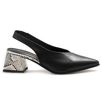 Laura Bellariva Women's Shoe In Black Leather and Python Heel