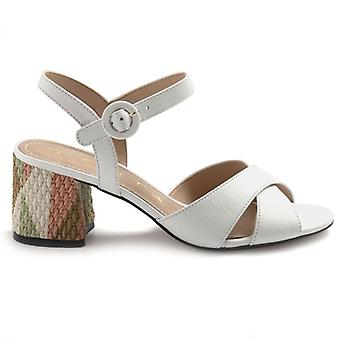 White Tabita Sandals with Multicolor Decorated Heel