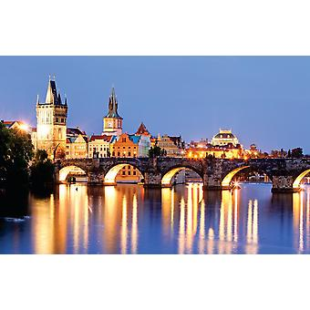 Photo wall mural Prague bridge at night