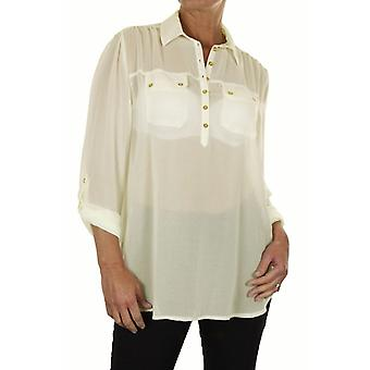 Women's Long Sleeve Button Blouse Ladies Loose See Through Chiffon Shirt Blouse Top Casual Everyday Evening Business Office Cream 8-10