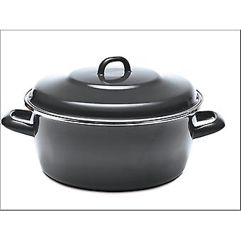 Home Cook Non-Stick Deep Casserole Enamel/ Steel Grey 26cm HH0318