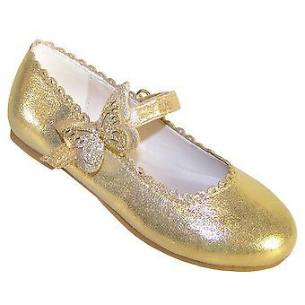 Meisjes gouden Shimmer ballerina Party schoenen