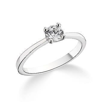 9K White Gold Tiffany Style 4 Prong Setting 0.20Ct Certified Solitaire Diamond Engagement Ring