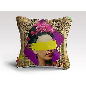 Frida kahlo - almofada/travesseiro de arte de colagem