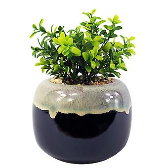 18cm Ceramic Drip Glazed Planter with Artificial Crassula Plant