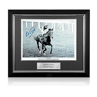 Lester Piggott signiert Pferderennen Foto: Nijinsky. Deluxe Rahmen