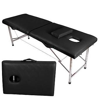Folding Beauty Bed Professional Portable Spa Massage Tables Foldable (black)