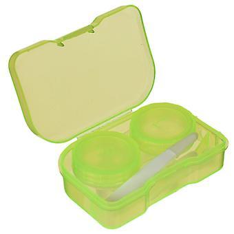 Mini caixa de lente de contato quadrado com espelho mulheres coloridos caixa de olho recipiente