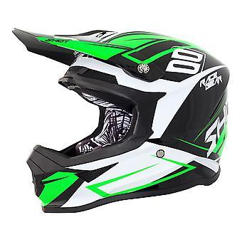 Shot Furious Alert Full Face Motocross Casque Vert Blanc Noir ACU Approuvé
