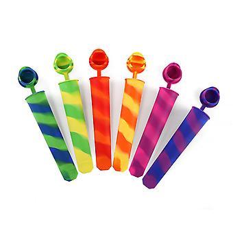 6 db - Szilikon Ice Pop Maker Set Többszínű Ice Pop formák formák Penészgombások nagyon könnyen tisztítható - Bpa-mentes!